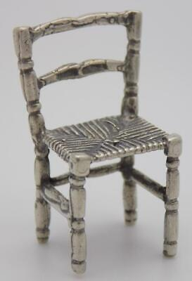Vintage Solid Silver Italian Made Dollhouse Country Chair Miniature, Hallmarked*