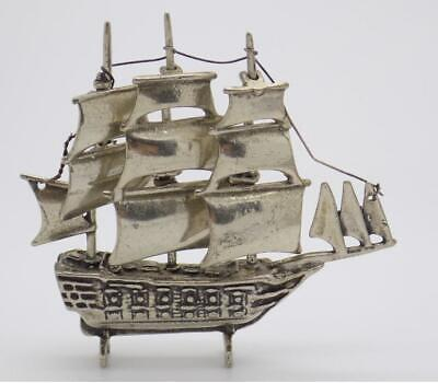 Vintage Solid Silver Italian Made Large Galleon Miniature, Stamped