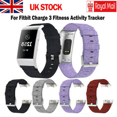 Replacement Canvas Watch Strap For Fitbit Charge 3 Wrist Band Nylon Woven Fabric