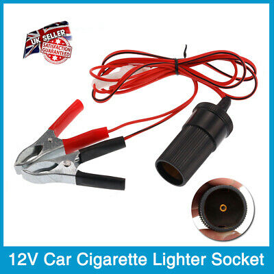 12v Car Power Lead Cable Cigarette Lighter Socket To Battery Crocodile Clips