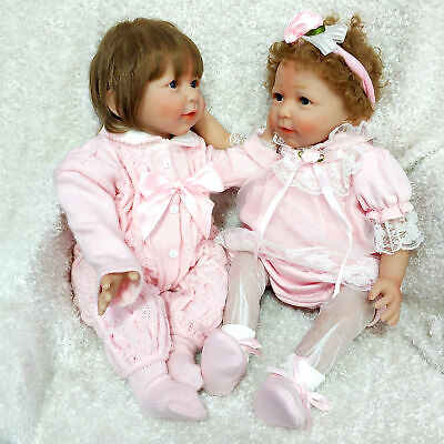 "Toddler 22"" Twins Lifelike Reborn Baby Doll Girl  Silicone Handmade Toy Gift"