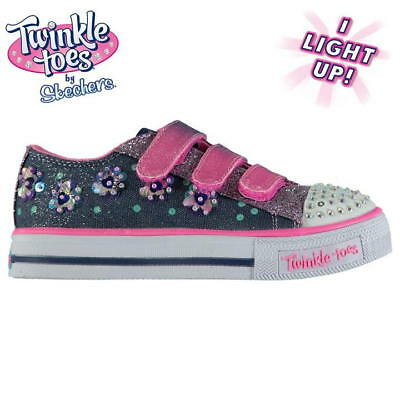 Skechers Twinkle Toes Shuffles Child Girls Trainers UK 13.5 US 1.5 EUR 33 *4294