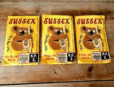 Vintage Sussex Stick on Shoe Soles Cobbler Repair - Sussex Rubber Co. England