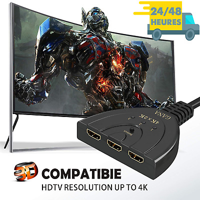 Commutateur Switch Répartiteur Splitter Multiprise 3 en 1 Port HDMI 4K