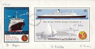 1979 Tristan da Cunha RMS QEII Visit Cover - Signed by SEVEN