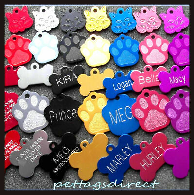 DOG & CAT Pet id Tags  7 Colors Blue CHEAPEST Discs DEEP ENGRAVED & Personalised