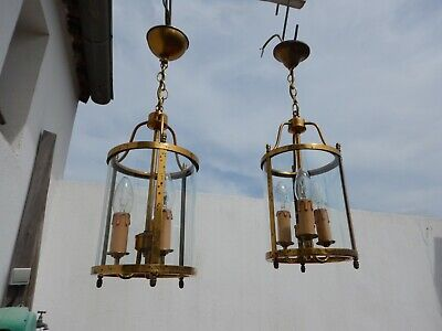 Vintage French  2 Lanterns Brass Glass