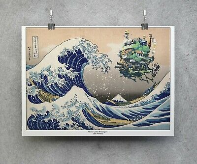 Howl's Moving Castle & Great Wave Print, Poster, Studio Ghibli Gift,  Ghibli Fan