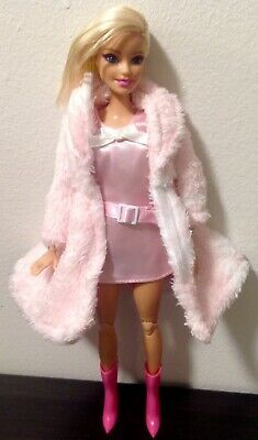 """Barbie Clothes: Pretty In Pink """"Belted"""" Retro Mini Dress, Faux Fur Coat & Boots"""