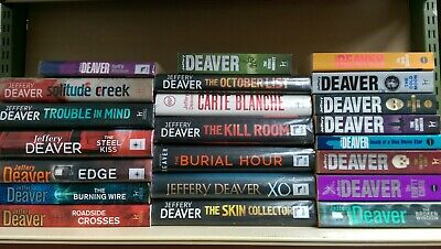 JEFFERY DEAVER: Job lot box collection of 22 adult fiction books