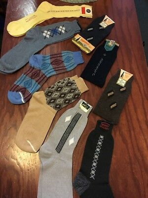 Vtg 40s 50s NOS Mens Socks Lot 9 Pair Rockabilly Argyle Cotton Rayon Deadstock