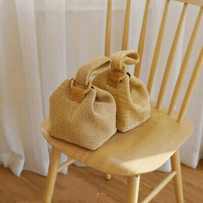 Ladies Beach Bag Bamboo Buckle SRetro Style traw Knitted Handle Small Handbag 6A