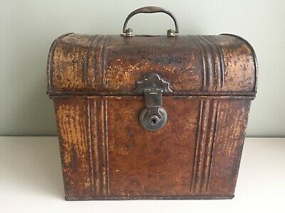 Antique Metal Dome Top Tin Deed Box Small Travel Trunk Brass Handle 31cm b13