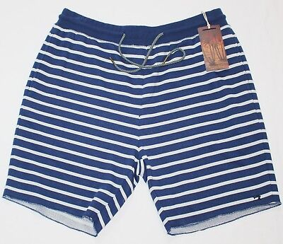 7163a59018bb  89 New SCOTCH   SODA Shorts Terry Cloth Men s LARGE L Navy Blue White  Striped