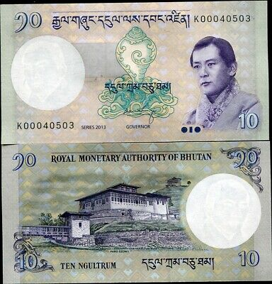 Bhutan 10 Ngultrum 2013 P 29 Unc Lot 3 Pcs Nr