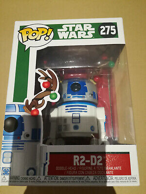 Funko 33891 POP Bobble Holiday R2-D2 w//Antlers Multi Star Wars