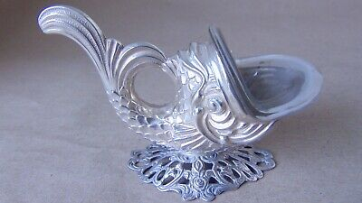 Beautiful Antique 835 Solid Silver Fish Salt & Glass Liner