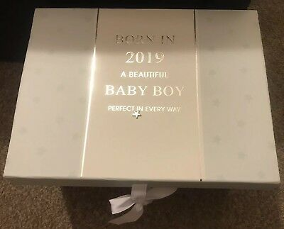 New Born Baby Boy Born In 2019 Keepsake Box Gift Present Memory Box