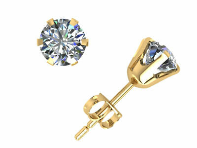 18K Solid Gold Certified Genuine Diamond Stud Earrings .35 carats 1/3 ct. tw.