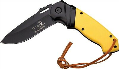 Elk Ridge ER-A003BY Yellow Black Assisted Straight Hunter Folding Pocket Knife
