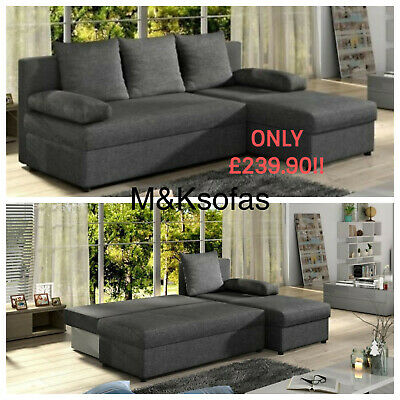 BRAND NEW CORNER Sofa Bed Cheap FREE DELIVERY Black Grey ...