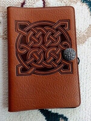"""Oberon Design Leather Book Journal Cover 6"""" x 9"""" Celtic Square in Saddle"""