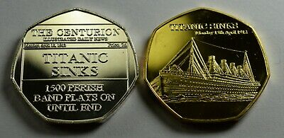 Pair of RMS TITANIC SINKS 1912 NEWSPAPER Collectors Token/Medal Fine Silver Gold