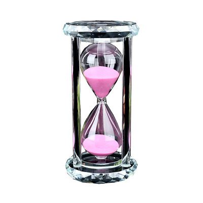 Siveit Crystal Hourglass Sand Timer with Gift Box, 30 min - Pink