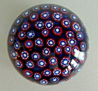 Vintage Murano Art Glass Millefiori Paperweight CLOSE Packed CANE RED WHITE BLUE