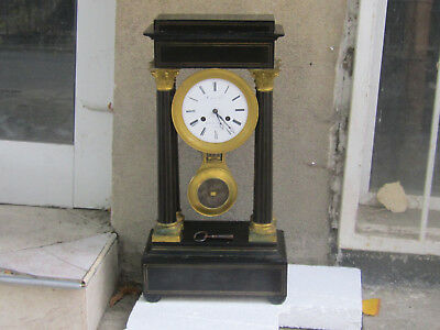 Rare Antique BIG French Empire Column Portico Clock 1830's
