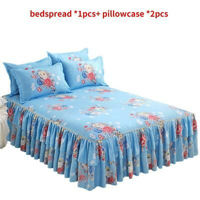 Bedspread Bedding Pillowcase Set Elastic Bed-Skirt Queen-Size Dust-Ruffle