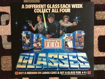 Star Wars Return Of The Jedi Burger King Coke Translight Glasses Poster 1983
