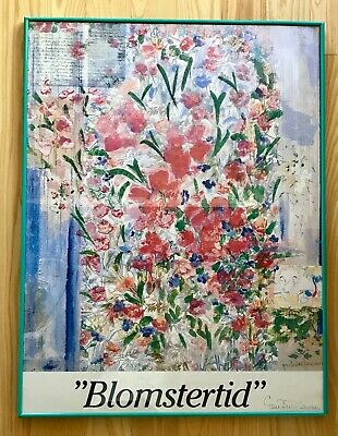 "Swedish Art GUNN-BRITT LAWURN Floral Print ""BLOMSTERTID"" 36x24 Ink Signed Framed"