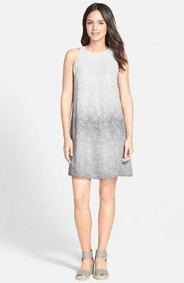 NWT EILEEN FISHER GRAPHITE//GREY OMBRED PRINT ROUND NECK SILK ALINE DRESS $318 PS
