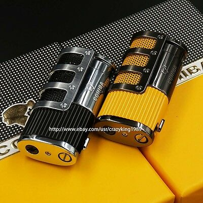 2 COHIBA Cigar Lighter Set Gridding Stripes 3 Torch Jet Flame With Punch