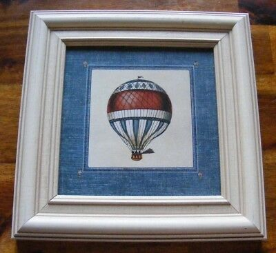 "professionally framed Hot Air Balloon 6"" x 6"" print red white & blue"