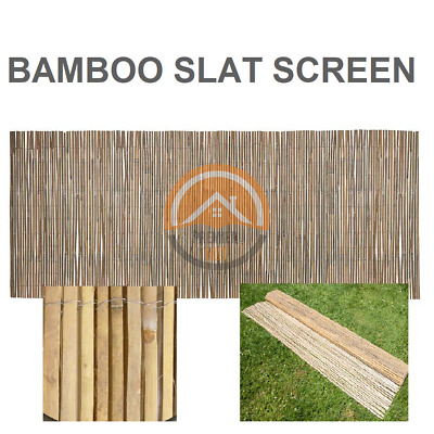 Bamboo Slat Privacy Screen Roll Slatted Fence Panel Garden Outdoor (3.8 x 0.9) m