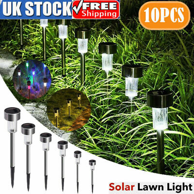 10 Solar Powered Garden Lights Post Patio Outdoor Led Lighting Stainless Steel K