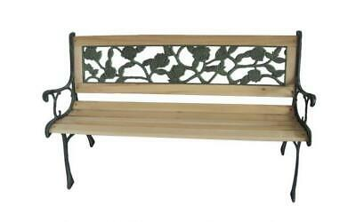 Quality Outdoor Cast Iron Metal Wood 3 Seater Rose Style Garden Park Bench Seat