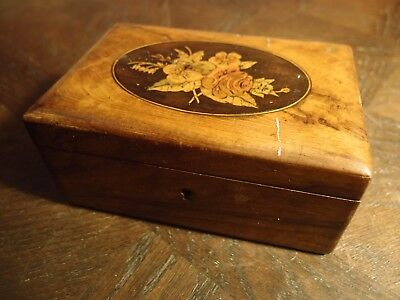 Antique Victorian Olivewood & Inlaid Marquetry Trinket Jewellery Box