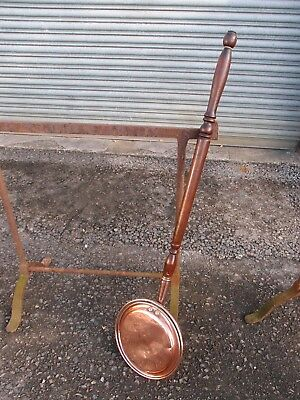 Large Antique Copper/Brass Bed Warming Pan - Turned Wooden Handle Lovely Patina
