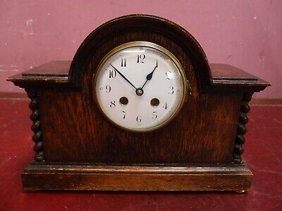 ANTIQUE 1920's OAK MANTLE BRACKET CLOCK BARLEYTWIST COLUMNS BATTERY MOVEMENT