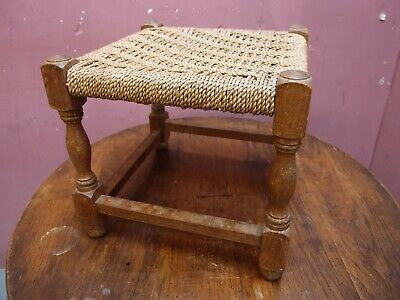 Small Antique Oak Framed Stool With Woven String Seat