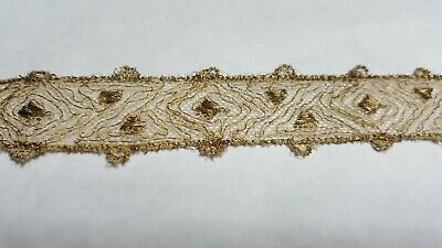 Antique Gold Metallic Lace with Dots Plus Gold Metallic Lace - 10 1/2 yds !!!!