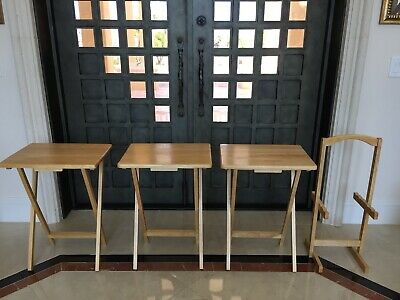 4Pc Vintage Folding TV Table Trays Set With Stand Mid Century Wood Snack Tables