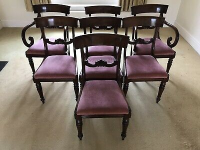 Set Of 7 Regency Mahogany Dining Chairs