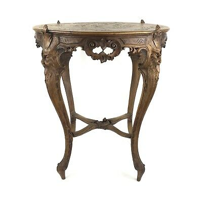 Antique Ornate Wood Carved Gothic Style Victorian North Wind Face Table