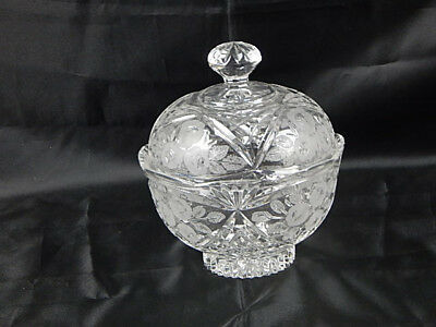 ABP American Brilliant Period Etched Crystal Covered Candy Dish Compote w/ Lid