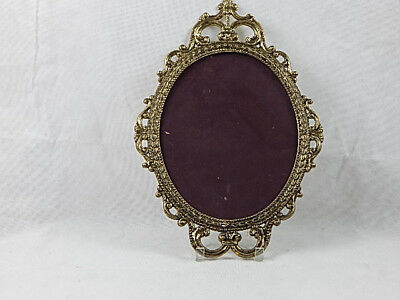 """Vintage Ornate Metal Filigree Oval Picture Frame Chic Made in Italy 17 1/2"""""""