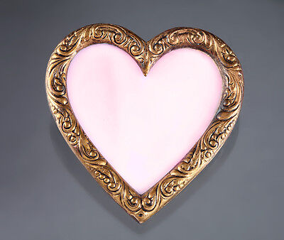 Vintage HEART BROOCH Handmade Unique Antique Jewelry Pink Stained Glass Pin